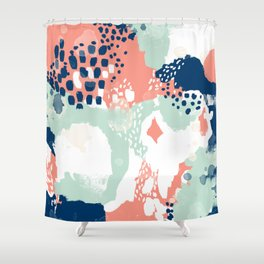 Kayl - abstract painting minimal coral mint navy color palette boho hipster decor nursery Shower Curtain