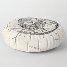 Space Satellite Patent - Outer Space Art - Antique Floor Pillow