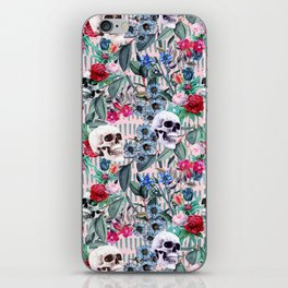 Flowers and Skulls (Pink) iPhone Skin