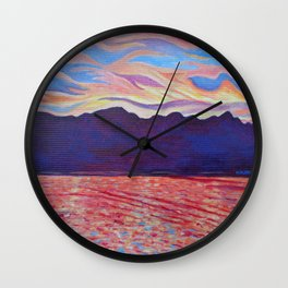 Sunset Over Vancouver Island Wall Clock
