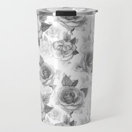 Hand painted black white watercolor roses floral pattern Travel Mug