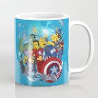 superheroes Mugs featuring Superheroes by Adrien ADN Noterdaem
