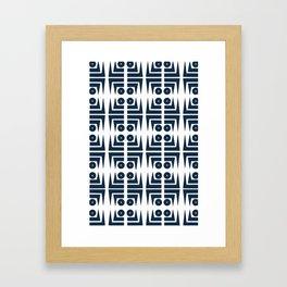 Navy blue aztec pattern Framed Art Print
