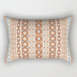 Aztec Stylized Pattern Blue Cream Terracottas Rectangular Pillow