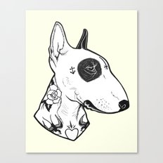 Bull Terrier dog Tattooed Canvas Print