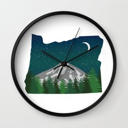 Oregon Mountain on a Clear Night Wall Clock