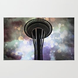 Space Needle - Seattle Stars and Clouds at Night Rug