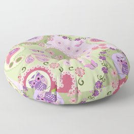 Retro paisley shapes with cute owls and flowers Floor Pillow