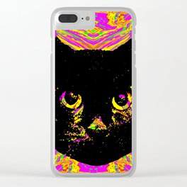 Purple Streak Quad Cat Clear iPhone Case