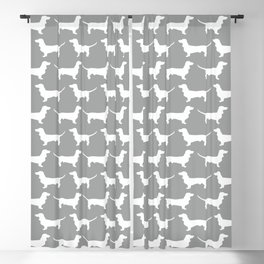 Silver Dachshund Pattern Blackout Curtain