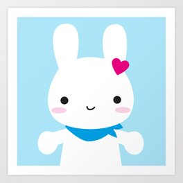 Super Cute Kawaii Bunny Art Print