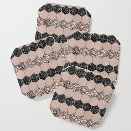 Blush Hexagon Glitter Glam #1 #geometric #decor #art #society6 Coaster