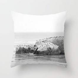Bird Rock on Shell Beach Throw Pillow