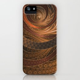 Earthen Brown Circular Fractal on a Woven Wicker Samurai iPhone Case
