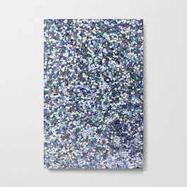 Blue Glittering Sequins Metal Print