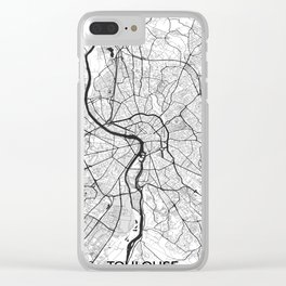 Toulouse Map Gray Clear iPhone Case