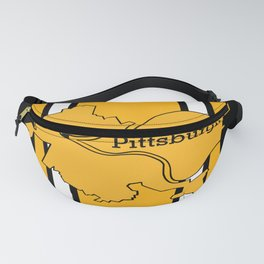 Pittsburgh City Map Black Gold Stripes Fanny Pack