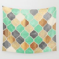 bedding Wall Tapestries featuring Charcoal, Mint, Wood & Gold Moroccan Pattern by micklyn