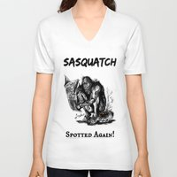 sasquatch V-neck T-shirts featuring SaSQUATch by Is It Moist?