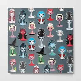 Spooky Dolls Pattern Metal Print