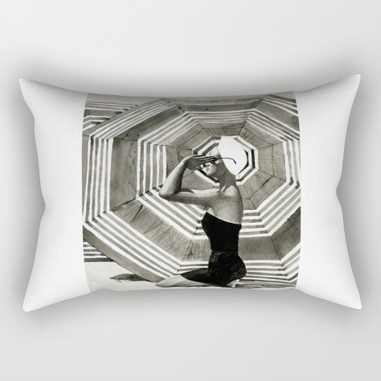 girl on the beach Rectangular Pillow