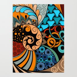 Hand-drawn ethno zentangle pattern, tribal background African sty. Beautiful, africa. Poster