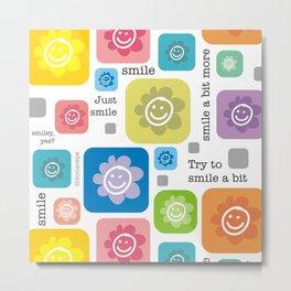 Happy Flower face | Flores Carita feliz Metal Print