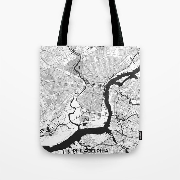 Philadelphia Map Gray Tote Bag