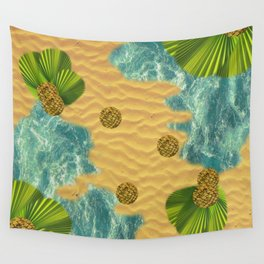 Leafy Sunshade on Tropical Beach Wall Tapestry