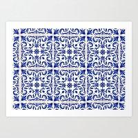 Blue-tile 1 Art Print