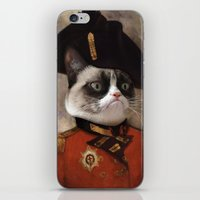 general iPhone & iPod Skins featuring Angry cat. Grumpy General Cat.  by UiNi