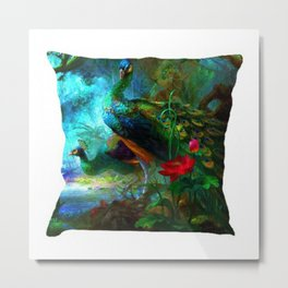 Peacock Print Cushion Cover Not Rated Metal Print