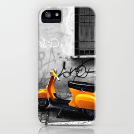 Orange Vespa in Bologna Black and White Photography iPhone Case