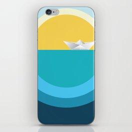 Paper boat in the sea iPhone Skin