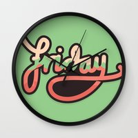 friday Wall Clocks featuring Friday by eugeniaclara