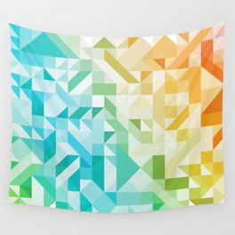 Colorful Geometric Pattern Saturated Rainbow Pattern Design (Red Pink Orange Yellow Green Blue) Wall Tapestry