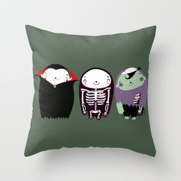 happy monster friends Throw Pillow