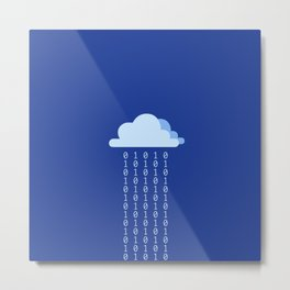 Digital rain on a blue background Metal Print