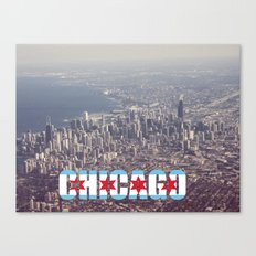 Chicago City Flag Architecture Downtown Color Text Font Type Photography Canvas Print