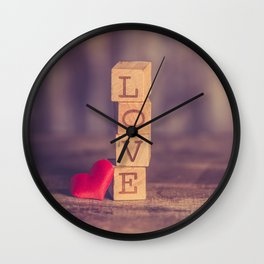 LOVE - Stack of Vintage Retro Wooden Blocks Wall Clock