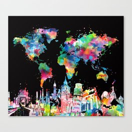 world map city skyline 3 Canvas Print