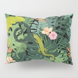 Chameleons And Salamanders In The Jungle Pattern Pillow Sham