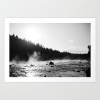 YELLOWSTONE STEAM Art Print