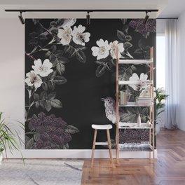 Blackberry Spring Garden Night - Birds and Bees on Black Wall Mural