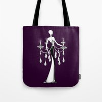 chandelier Tote Bags featuring Chandelier by Selena Gazda