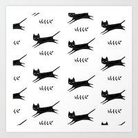 Little Cat Pattern Art Print