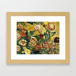 Roses on yellow Framed Art Print