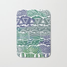 Wavy Tribal Lines with Shapes - Green Blue White Bath Mat