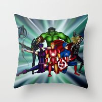 heroes Throw Pillows featuring Heroes by Callie Clara