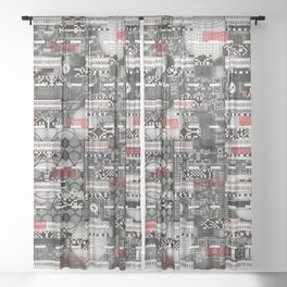 Hole Dancing and Navigation (P/D3 Glitch Collage Studies) Sheer Curtain